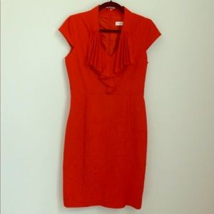 Calvin Klein Red Fitted Pencil Dress Cap Sleeves